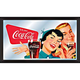 Coca-Cola 1950's Wood Framed Mirror - Couple