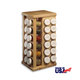 Wood Carousel Spice Rack with Glass Spice Bottles - 16 Bottle Rack