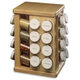 Wood Carousel Spice Rack with Glass Spice Bottles - 32 Bottle Rack