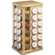 Wood Carousel Spice Rack with Glass Spice Bottles