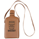 Whiskey Glass Hip Flask with Brown Leather Cover & Shoulder Strap - 8 oz