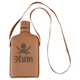 Rum Glass Hip Flask with Brown Leather Cover & Shoulder Strap - 8 oz