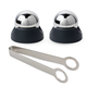 Stainless Steel Drink Chilling Balls with Tongs & Base - Set of 2