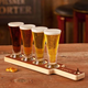 Personalized Beer Tasting Serving Paddle with Mini Pilsner Glass Set