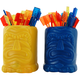 Plastic Tiki Man Cocktail Picks & Holder Set