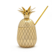 W&P Pineapple Cocktail Tumbler with Straw - 16 oz - Brass with Gold Finish