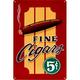 Vintage Fine Cigars Metal Bar Sign