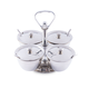 Bar Garnish Server with Spoons - Stainless Steel - 4 Compartments