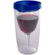 Vino2Go Insulated Wine Tumbler - Blue Lid - 10 oz