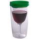 Vino2Go Insulated Wine Tumbler - Emerald Green Lid - 10 oz