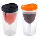 Vino2Go Insulated Wine Tumbler - Set of 2 - Orange and Black Lid - 10 oz.