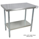 304 Series Stainless Steel Worktable with Galvanized Leg & Undershelf
