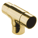 Flush Tee Handrail Fitting - Polished Brass - 1.5