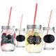 Write-On Chalk Label Mason Drinking Jars with Straws - Set of 4 - 15 oz