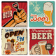 Vintage Beer Sign Ceramic Coasters - Set of 4