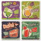 Retro Cocktail Lounge Ceramic Coasters - Set of 4