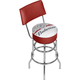 Budweiser Classic Label Padded Chrome Swivel Bar Stool with Back