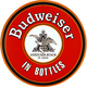 Budweiser In Bottles Round Metal Bar Sign
