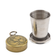 Buffalo Nickel Portable Collapsing Steel Shot Glass with Antique Brass Cap - 2 oz