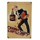 Vintage Cherry Brandy Metal Bar Sign