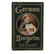 Vintage German Biergarten Metal Bar Sign