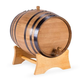 Oak Dispensing Barrel with Stand - Black Steel Bands - Satin Finish - 20 Liter