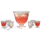 Artland Blown Glass Aspen Punch Bowl Set - 7 Quarts - 8 Pieces