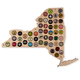 Hanging Wooden New York State Beer Cap Map