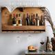Reclaimed Wood Wall-Mounted Wine Bottle & Stemware Rack