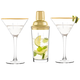 Personalized Gold Accent Cocktail Shaker & Martini Glass Set - 3 Pieces