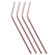 Viski Summit Polished Copper-Plated Cocktail Straws - Set of 4