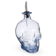 Skull-Shaped Hand-Blown Glass Syrup Bottle with Stainless Steel Pourer - 1 Liter