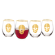 Gold Skull Stemless Wine Glasses - 19.25 oz - Set of 4