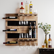Reclaimed Wood Wine Bottle & Stemware Wall Display Shelf