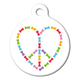 Peace and Love Dog Bones Pet ID Tag Large