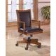 Cross Island Home Office Swivel Desk Chair in Medium Brown Oak Stain