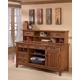 Cross Island Large Credenza & Short Desk Hutch in Medium Brown Oak Stain