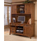 Cross Island Large Credenza & Tall Desk Hutch in Medium Brown Oak Stain