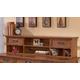 Cross Island Home Office Short Desk Hutch in Medium Brown Oak Stain