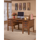 Cross Island Home Office Storage Leg Desk in Medium Brown Oak Stain