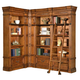 Parker House Grand Manor Granada 3Pc Corner Museum Bookcase with Ladder in Vintage Walnut