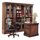 Parker House Huntington Glass Bookcase Wall with Peninsula Desk in Vintage Pecan