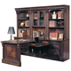 Parker House Huntington Glass Door Bookcase Wall w/ Executive Desk in Vintage Pecan
