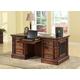 Parker House Leonardo Double Pedestal Executive Desk in Dark Chestnut LEO#480-3