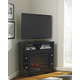 Shay Corner TV Stand with Fireplace Insert in Black W271-12/W100-01