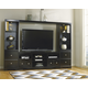 Shay Large Entertainment Unit with TV Stand w/ Fireplace Option, Bridge & Two Side Piers in Black