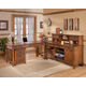 Cross Island Home Office L-Shaped Credenza Desk w/ File Cabinet in Medium Brown Oak Stain