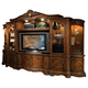 AICO Cortina 6-Piece Entertainment Wall in Honey Walnut