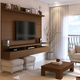 Manhattan City 1.8 Floating Wall Theater Entertainment Center in Nut Brown 25151