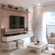 Manhattan City 2.2 Floating Wall Theater Entertainment Center in Maple Cream and Off White 25253